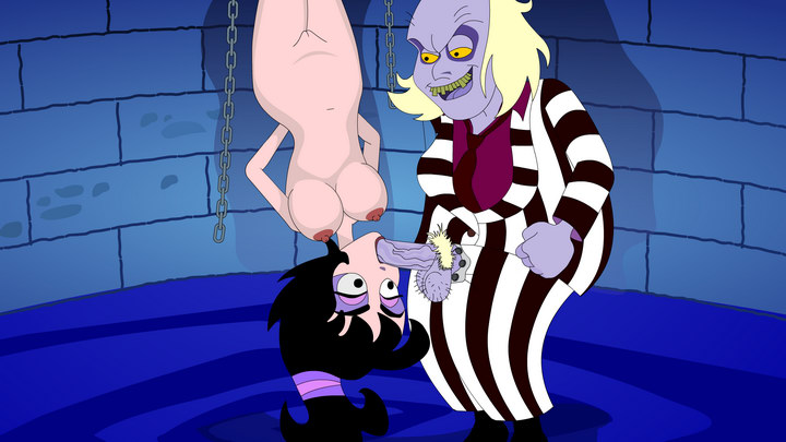 slutty torturer Beetlejuice tortures his slave woman