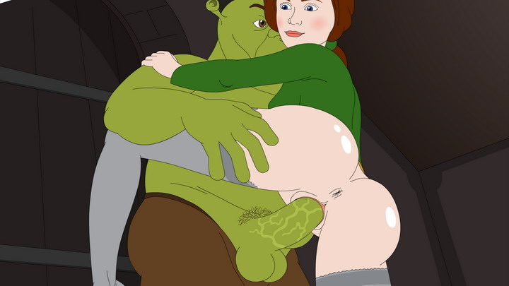 Princess Fiona impales herself on Shrek's big dick