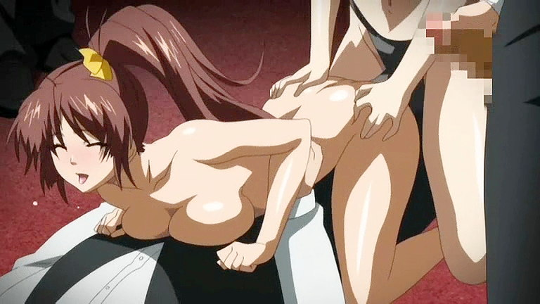 Strap-on fuck and bukkake hentai