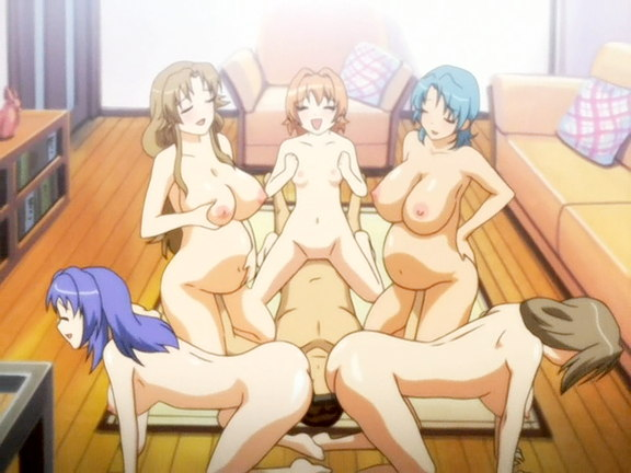 Busty lesbians in anime orgy film