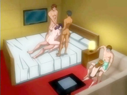 Animated group with babe on three penises