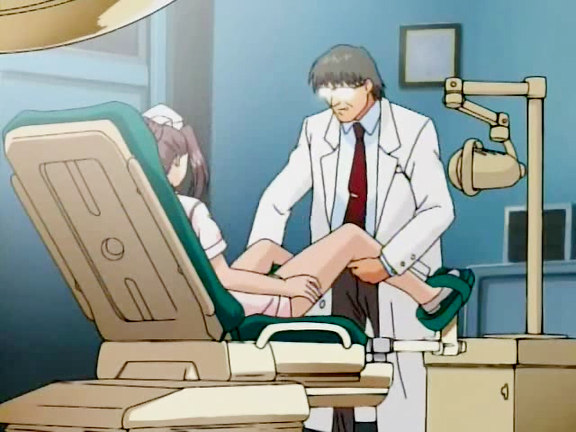 Doc is cruelly examining nurse's pussy