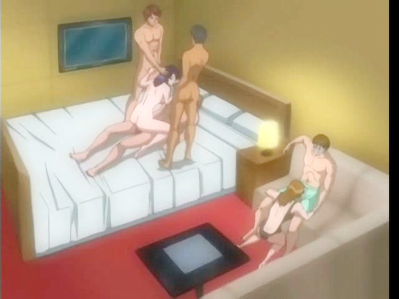 Animated group with babe on three dicks