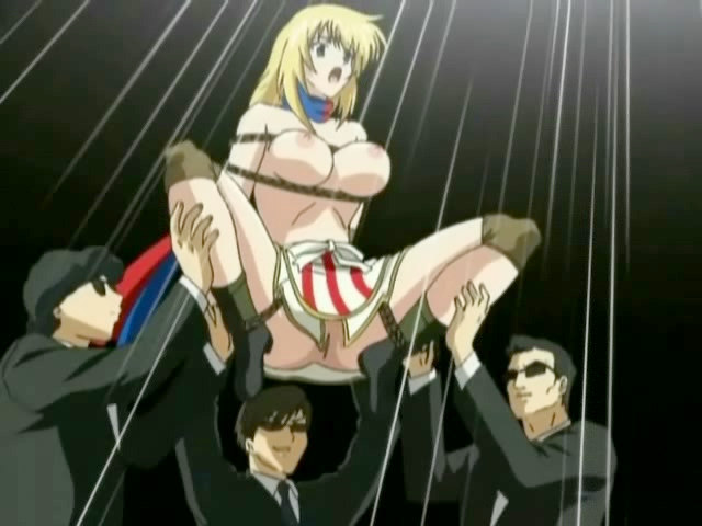 Anime with bound babe forced to group