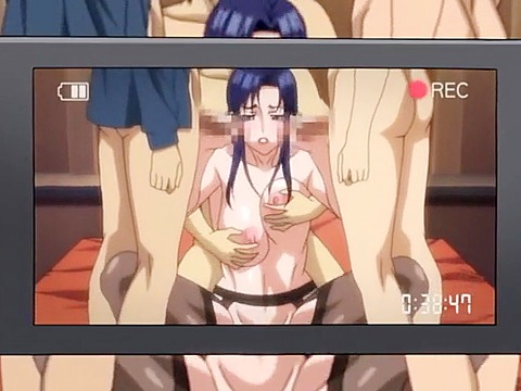 Babe gets anime group fuck for money