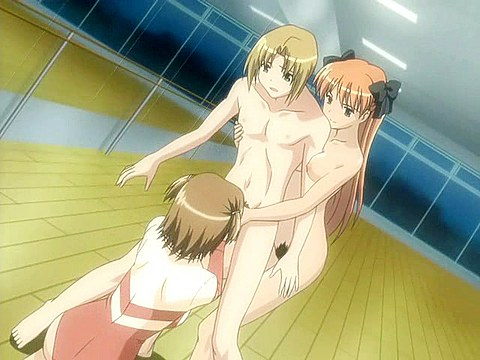Animated threesome orgy in the gym